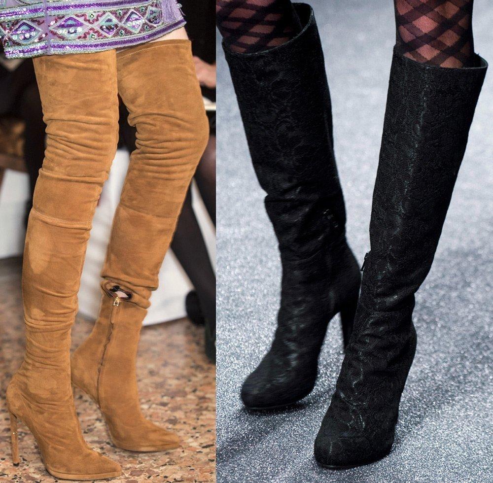 коричневые и черные сапоги на каблуке