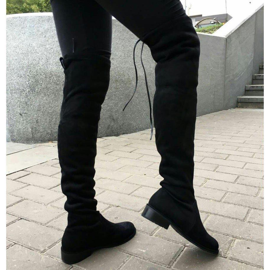 черные ботфорты замшевые