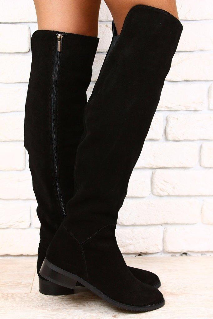 черные ботфорты замшевые на змейке