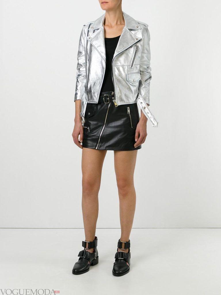 серебристая кожаная куртка-косуха