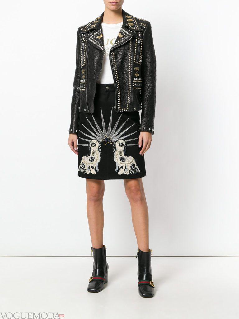кожаная куртка-косуха с декором