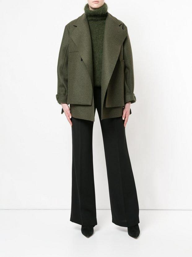куртка в мужском стиле зеленая