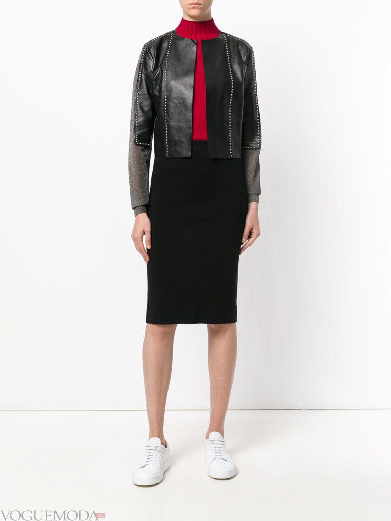 укороченная куртка черная