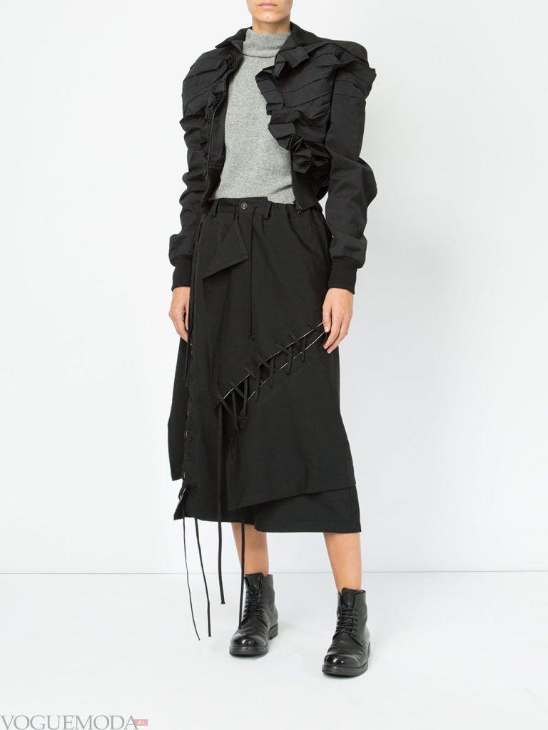 весенняя асимметричная куртка черная
