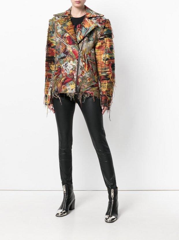 весенняя куртка из текстиля разноцветная