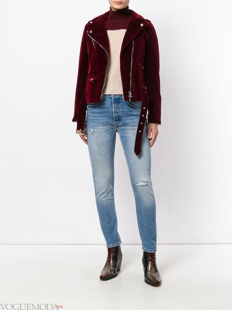 байкерская куртка бордовая