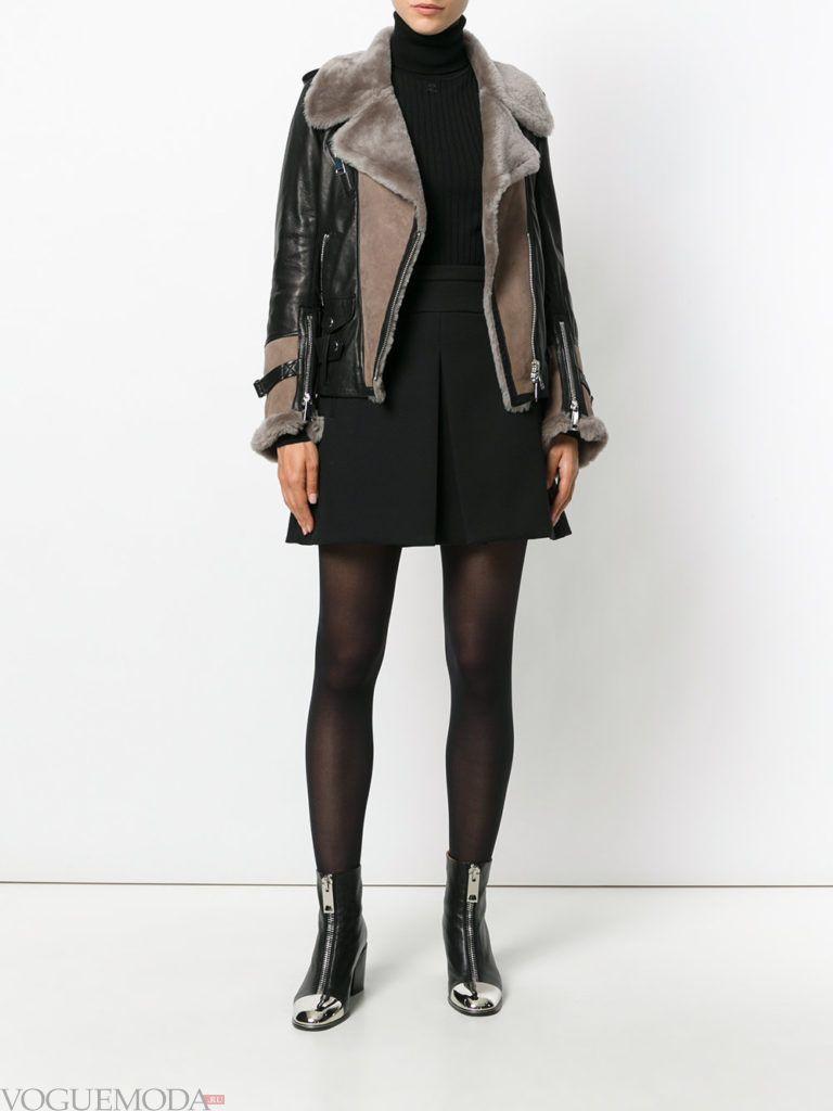 байкерская куртка с мехом