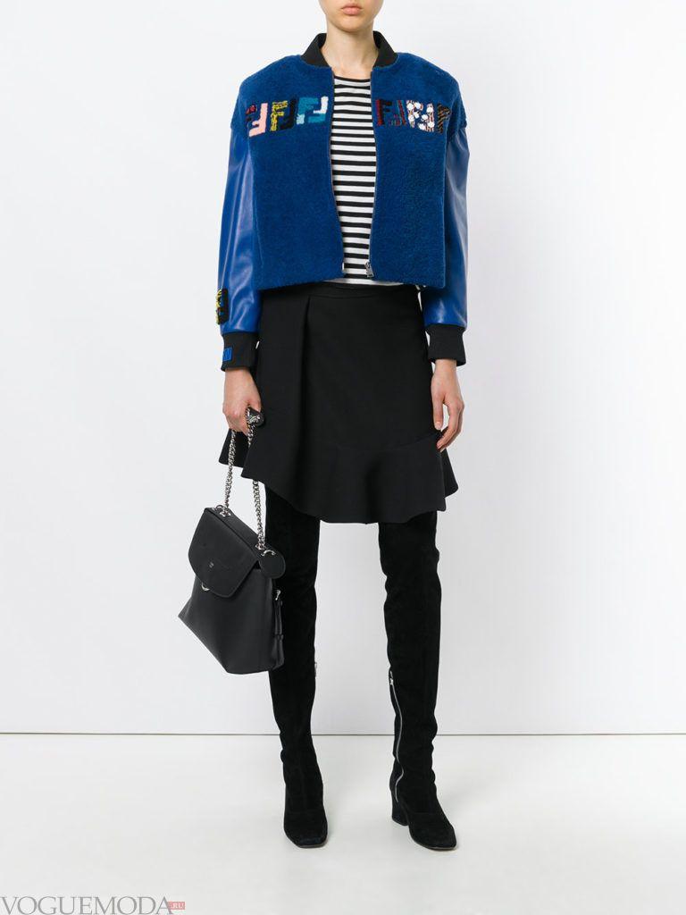 комбинированная куртка синяя