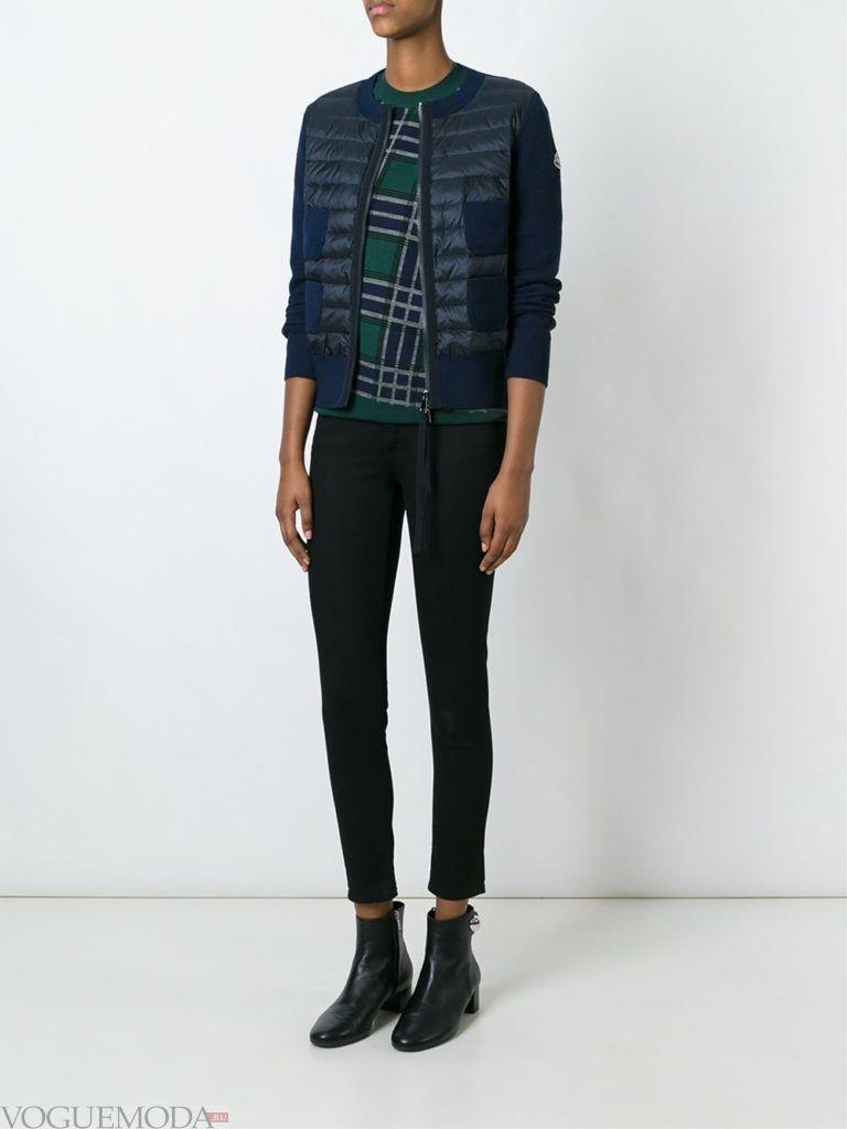 комбинированная куртка темная