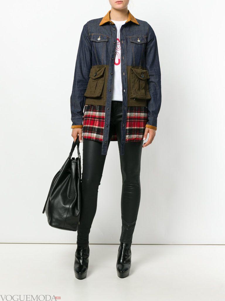 комбинированная куртка джинсовая