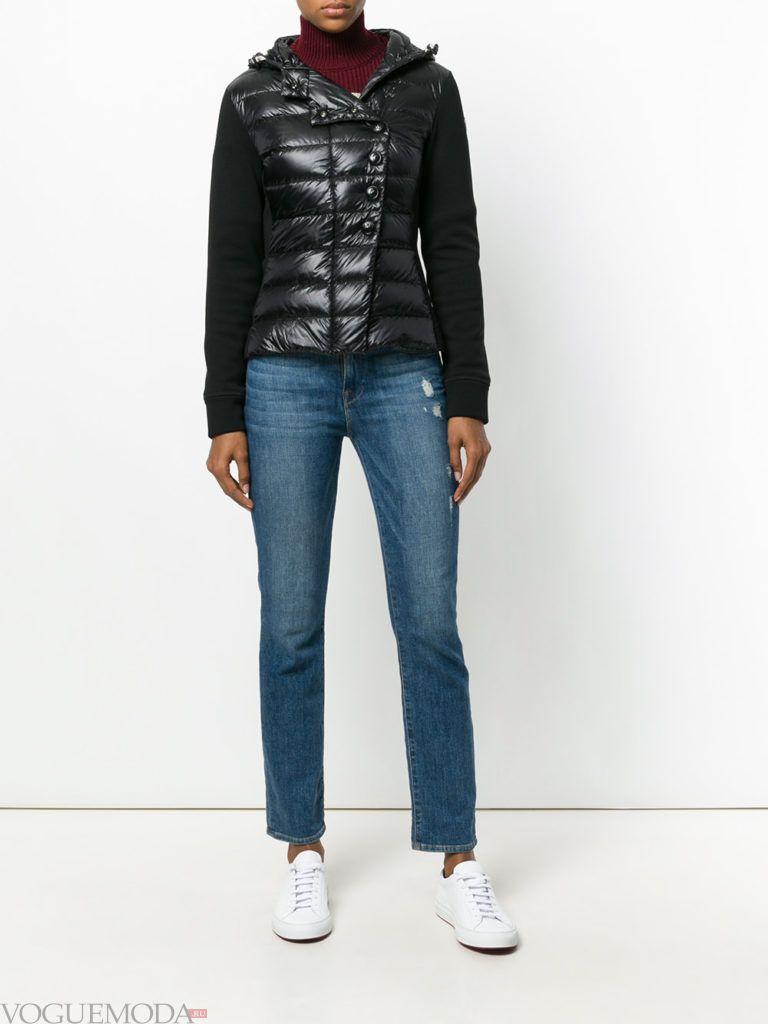 комбинированная куртка черная