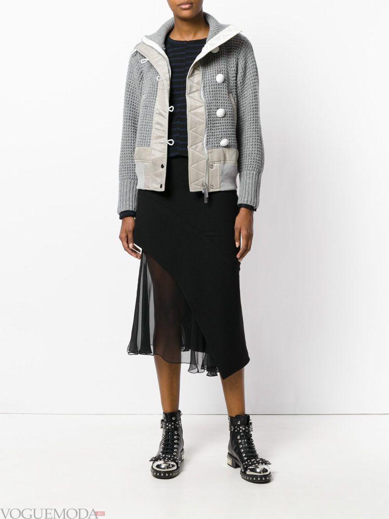 комбинированная куртка серая