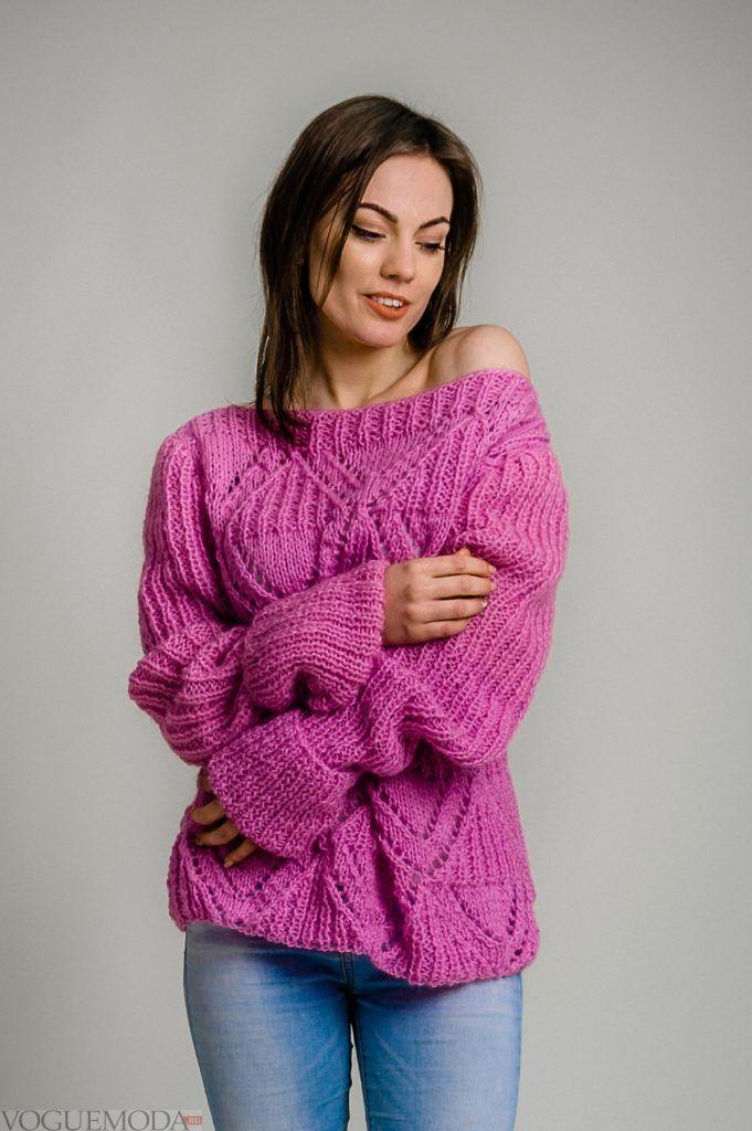 вязаный свитер свободный, цвет фуксия