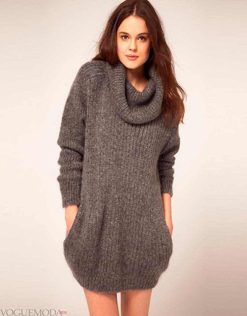длинный вязаный свитер с широкой горловиной