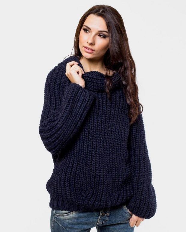 вязаный свитер темно-синий