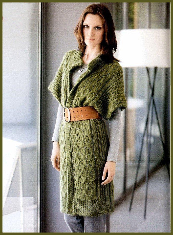 Вязаный кардиган зеленого цвета с поясом