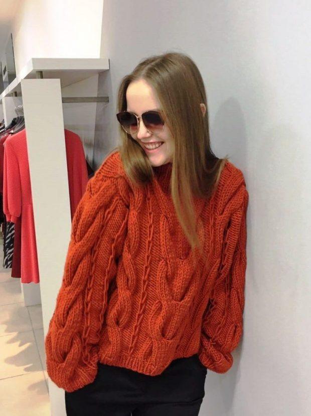 вязаный свитер оранжевый