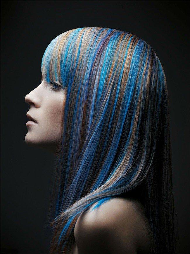 мелирование на средние волосы синее
