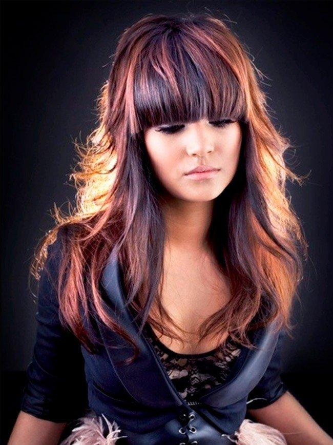 мелирование на средние волосы яркое