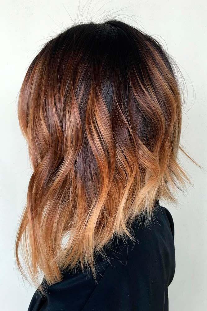 омбре на средние волосы модное