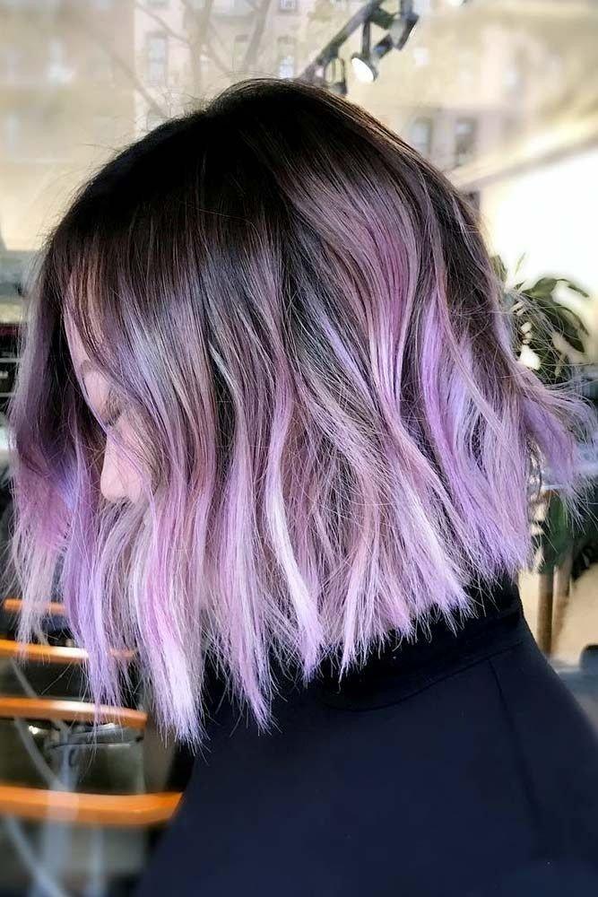 омбре на средние волосы фиолетовое
