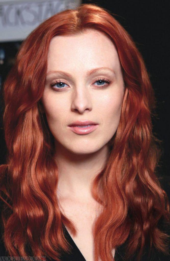 рыжий приглушенный оттенок на средние волосы