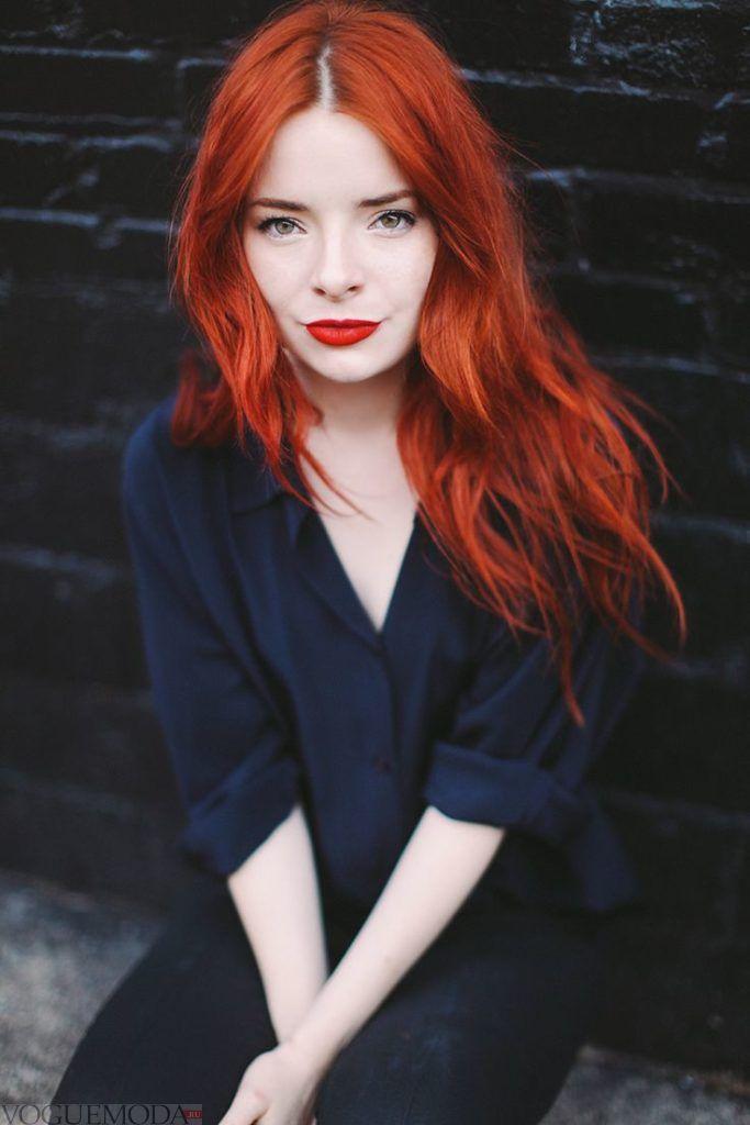 рыжий яркий оттенок на средние волосы