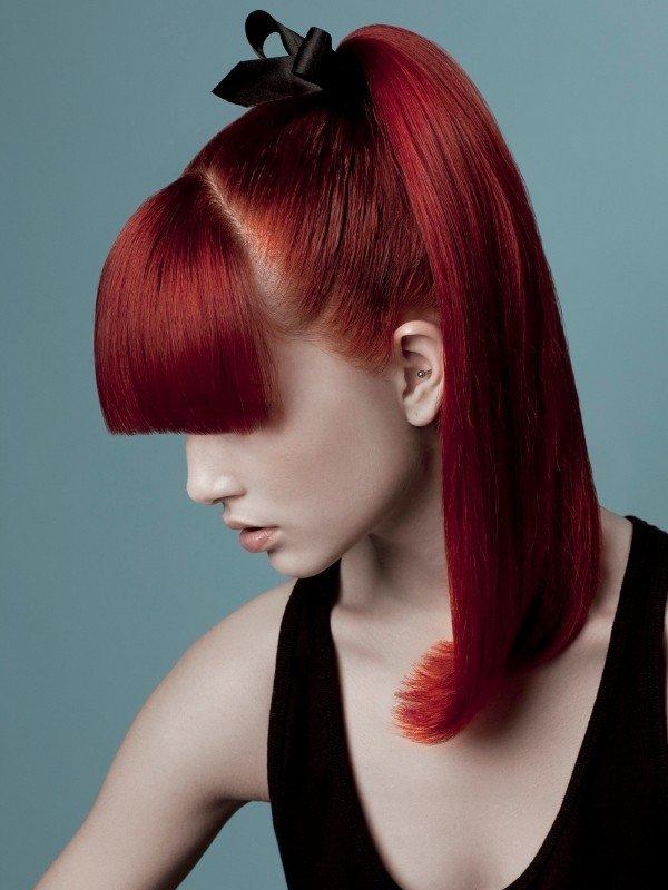 необычный рыжий оттенок на средние волосы