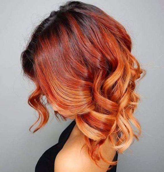 окрашивание 2018 омбре на средние волосы женские цветное