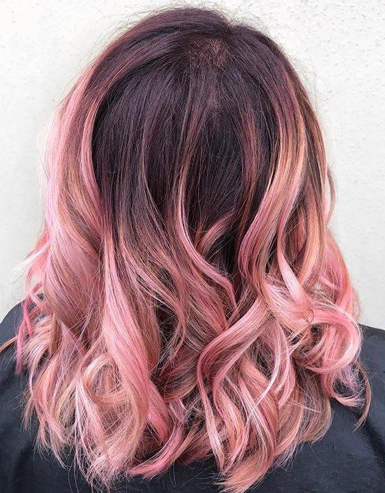 омбре на средние волосы розовое