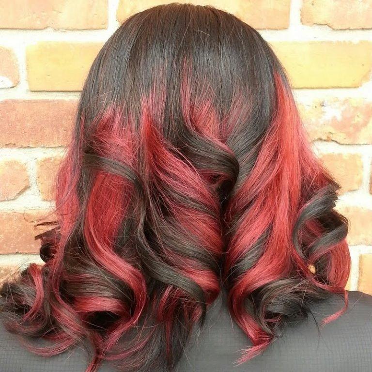 омбре на средние волосы яркое