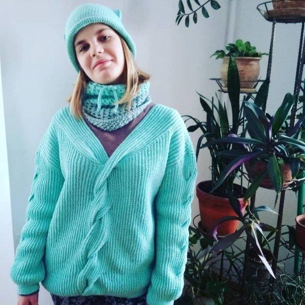 Модные вязаные вещи: бирюзовый сет