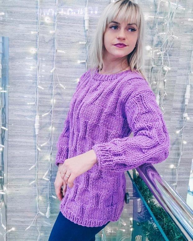 Модные вязаные вещи: фуксия свитер