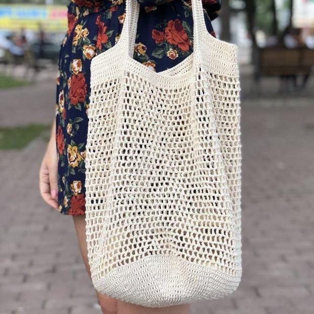 Модные вязаные вещи: большая сумка