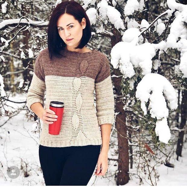 Модные вязаные вещи: коричневый свитер
