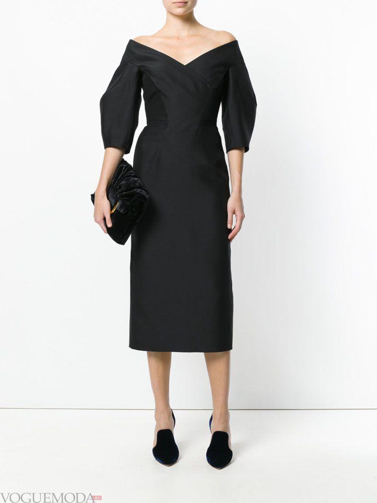 офисное платье-футляр черное