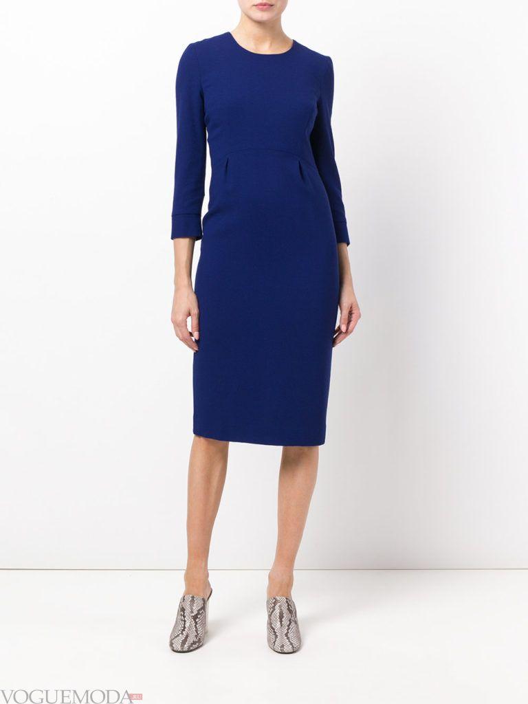 офисное платье-футляр синее