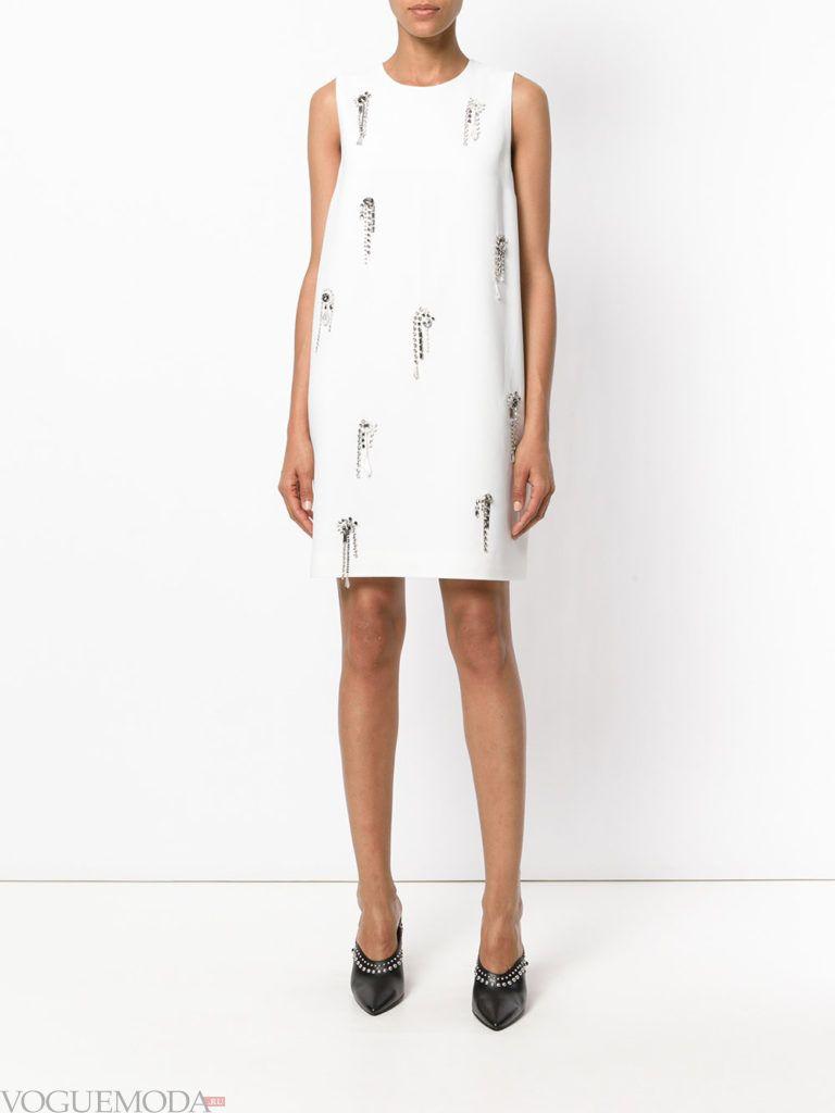 офисное платье А-силуэта белое