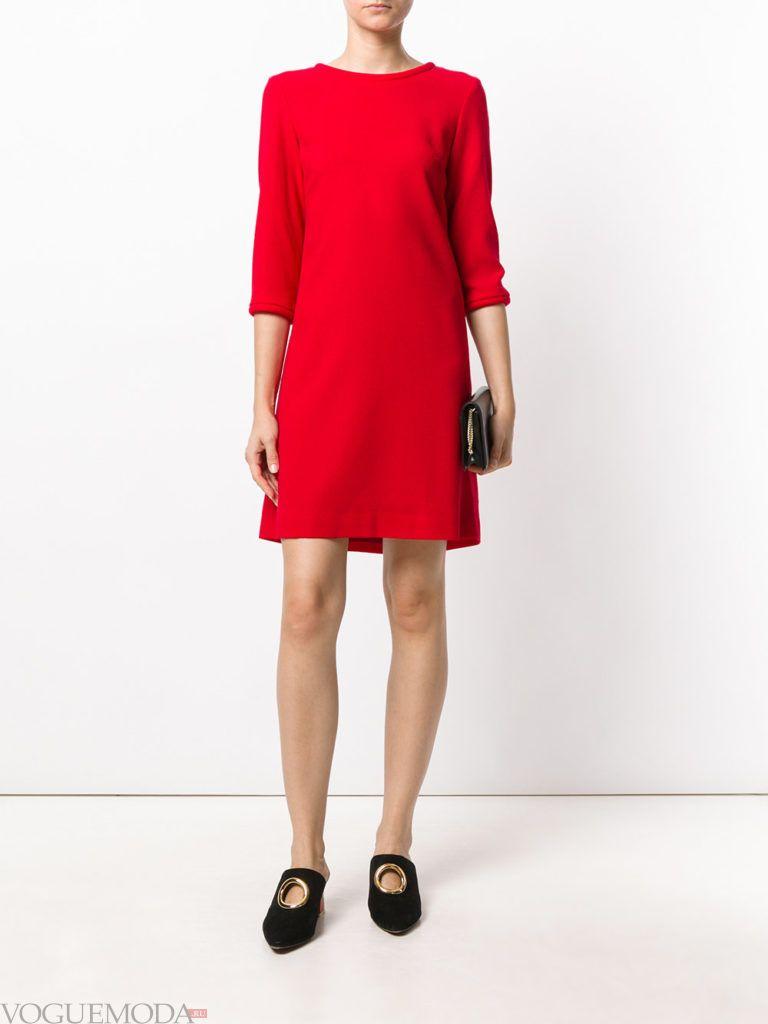 офисное свободное платье красное