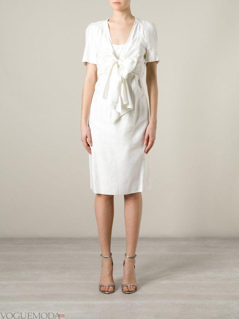 офисное ретро-платье белое