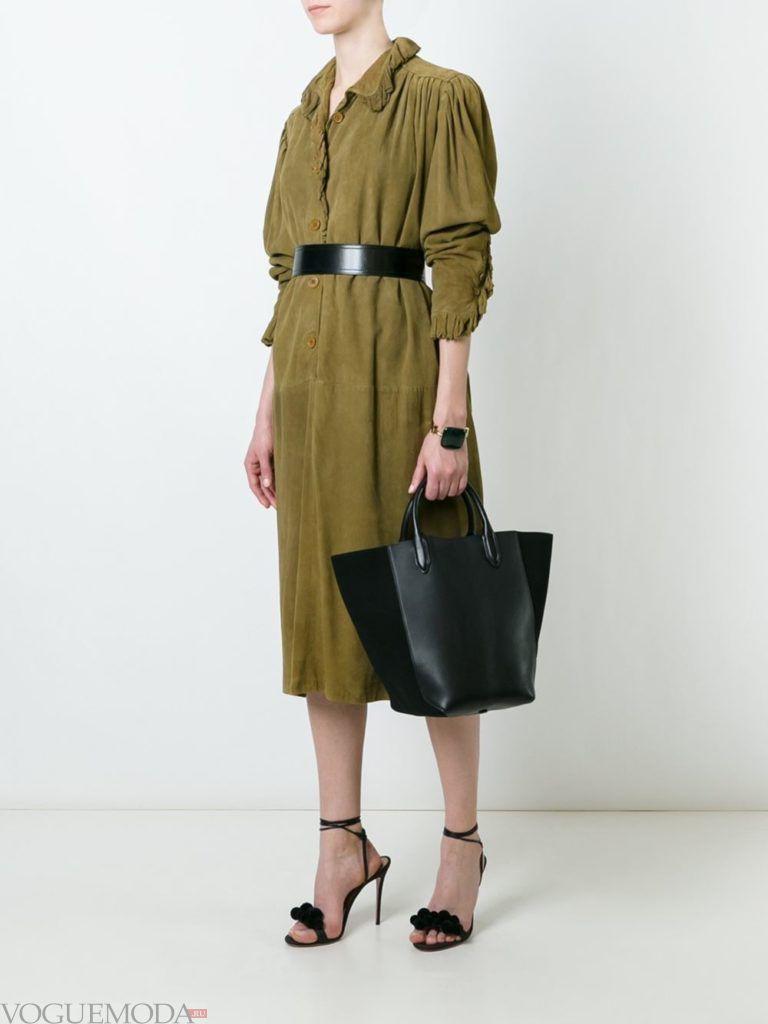 офисное ретро-платье зеленое