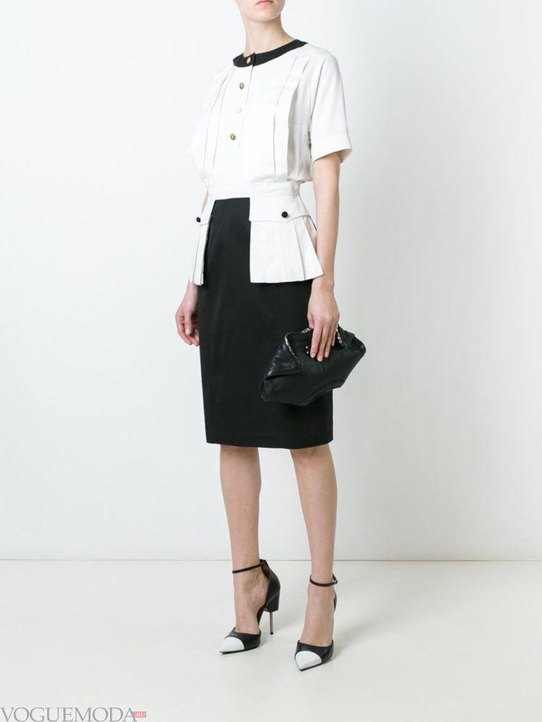 офисное ретро-платье двухцветное