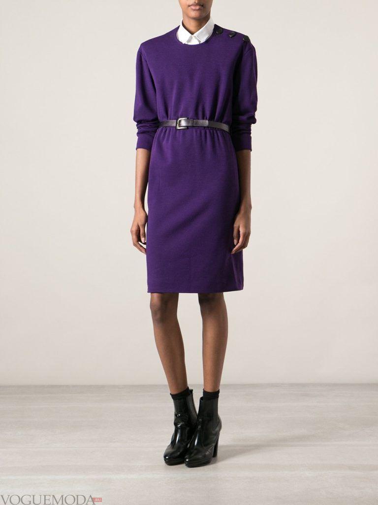 офисное ретро-платье фиолетовое