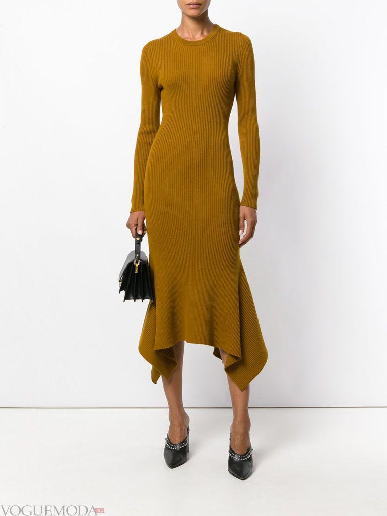 офисное теплое асимметричное платье