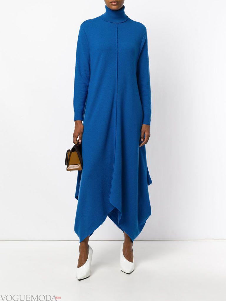 офисное теплое синее платье