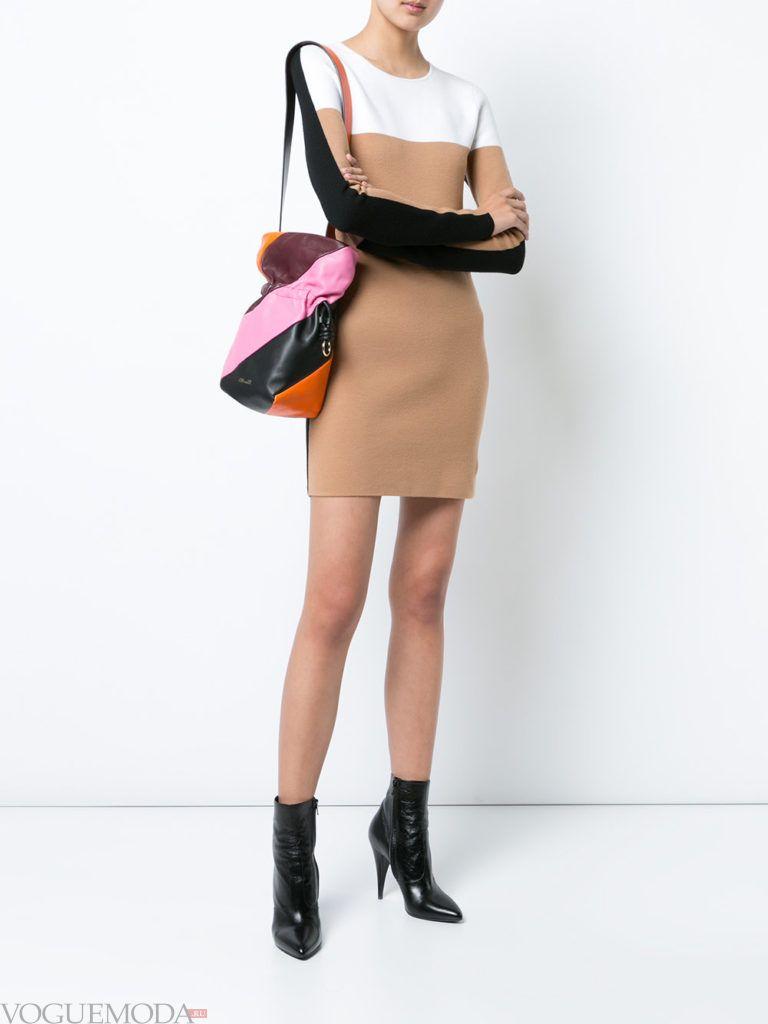 офисное теплое мини платье