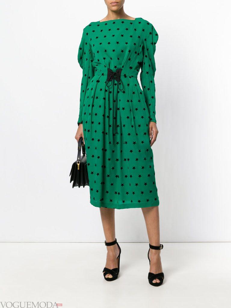 офисное свободное платье зеленое