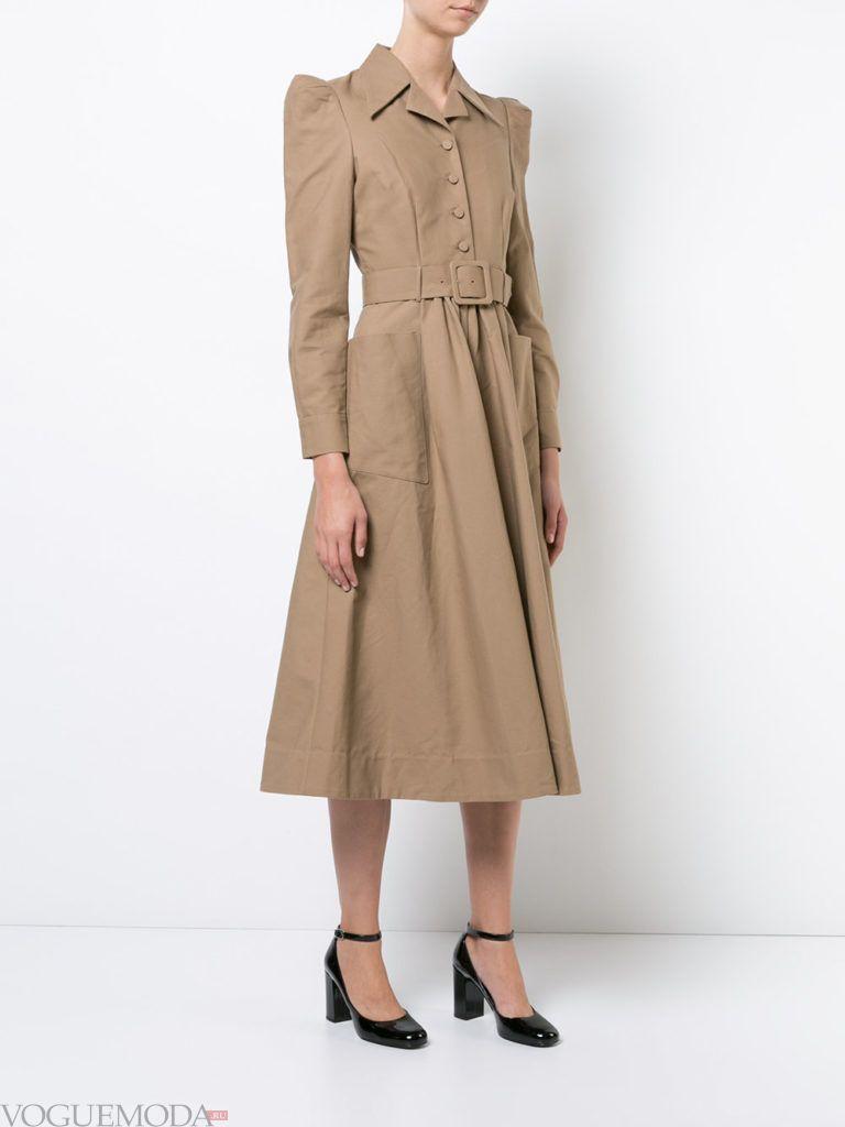 офисное платье с воротником бежевое