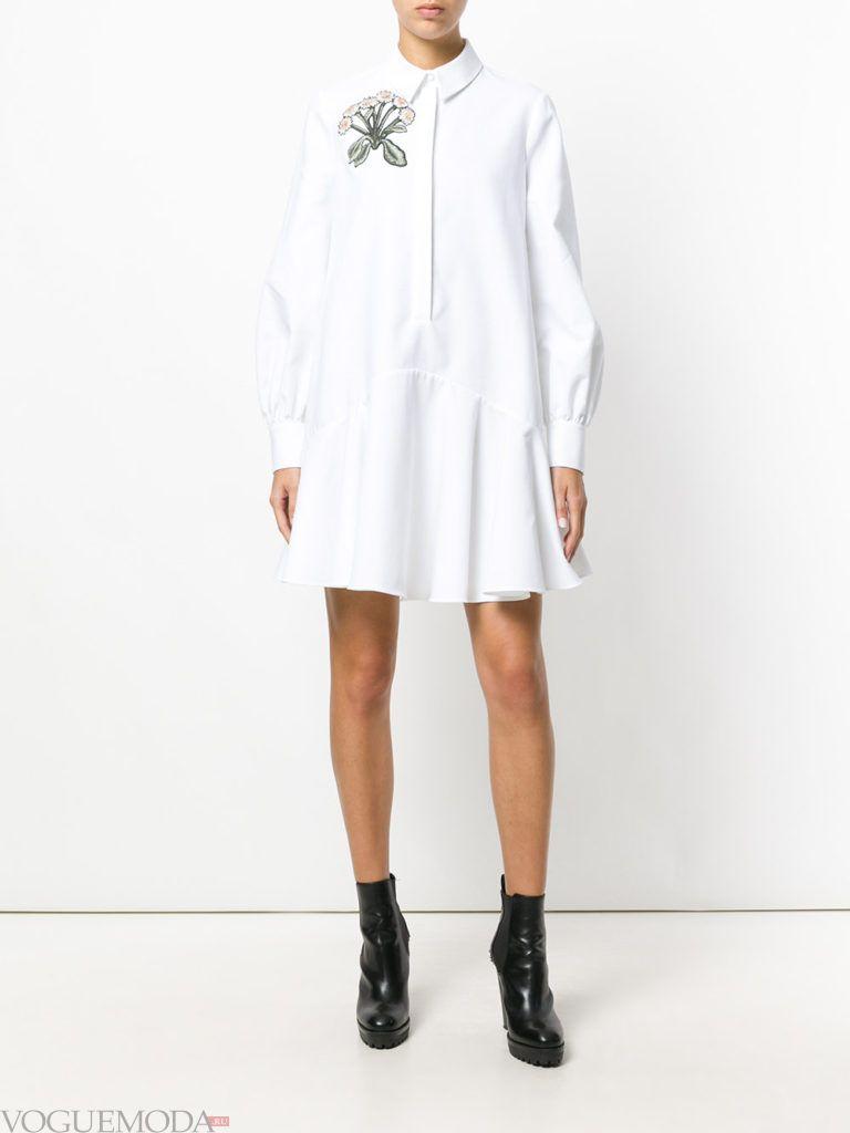 офисное платье с воротником белое