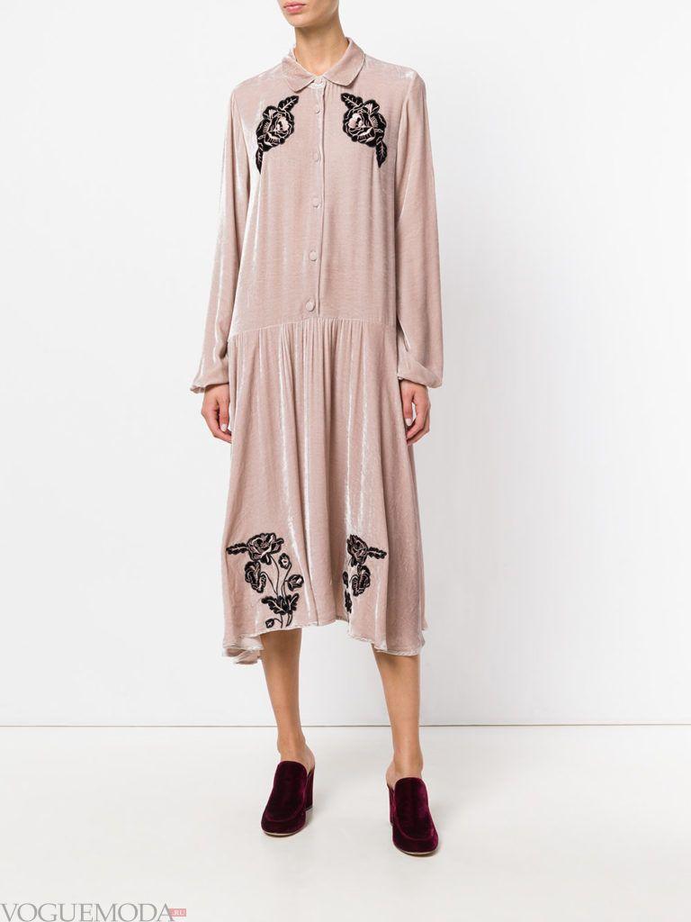 офисное платье с воротником розовое